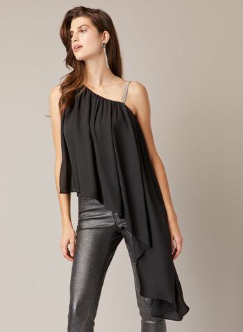 Asymmetrical Draped Top, Black,  Fall winter 2020, sleeveless, asymmetrical, muslin, top, draped