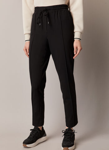 Chapter One - Casual Tie Front Pants , Black,  pants, fall winter 2020, chapter one, casual, drawstring, pleats, straight