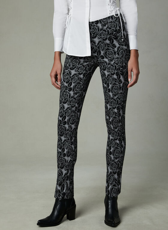 Rose Print Slim Leg Pants, Black