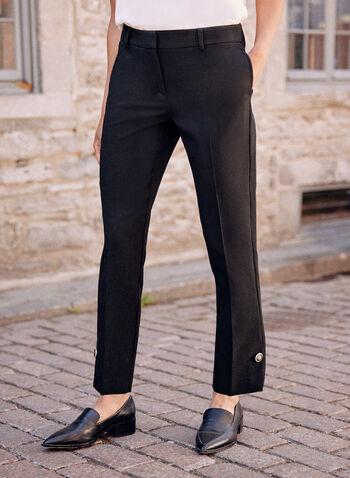 Pantalon coupe moderne à jambe droite, Noir,  pantalon, bas, jambe droite, coupe moderne, longueur cheville, détail bouton, fente, pinces, poches, poches passepoilées, taille mi-haute, fermeture éclair, automne 2021