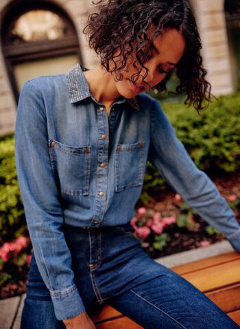 Chemisier en tencel à détails cloutés, Bleu,  haut, chemisier, col chemisier, manches longues, boutons, poches appliquées, rivets métalliques, détails cloutés, surpiqûres contrastantes, pli d'aisance, ourlet arrondi, tencel, jean, denim, automne 2021