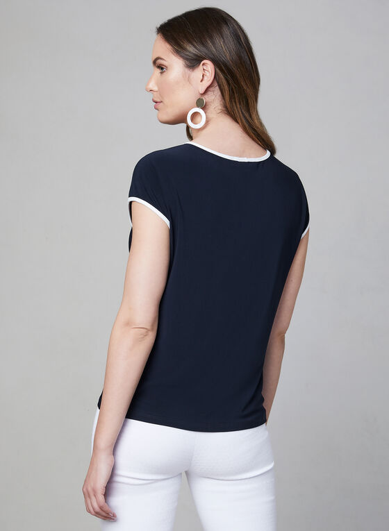 Contrast Detail Top, Blue