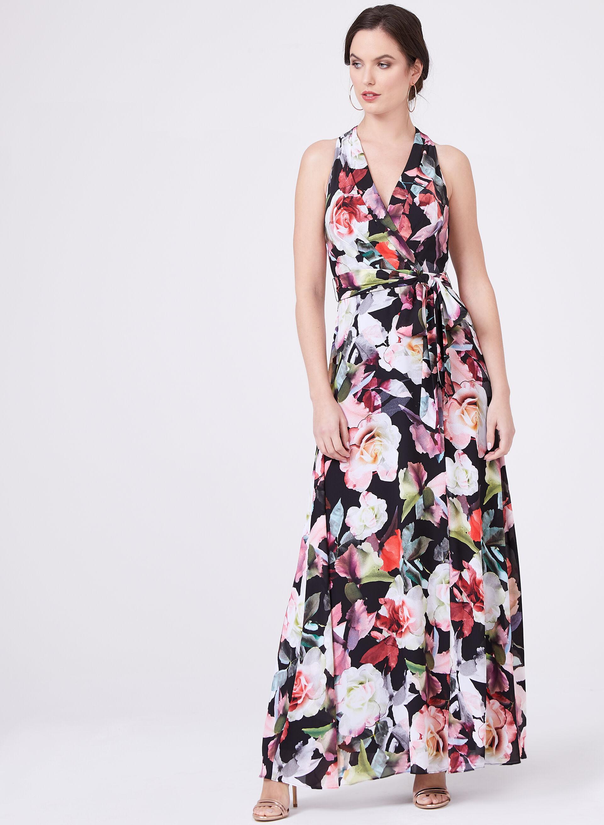 ... Cachet – Floral Print Surplice Front Dress, Black, hi-res. best seller
