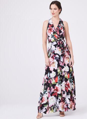 Cachet – Floral Print Surplice Front Dress, Black, hi-res