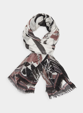 Leaf Print Scarf, Grey, hi-res