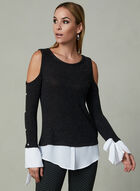 Frank Lyman - Cold Shoulder Fooler Blouse, Grey, hi-res