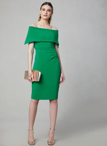 Vince Camuto - Off-the-Shoulder Dress, Green,  sheath, spring 2019, midi, stretchy