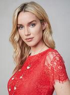 Kensie - Scalloped Lace Dress, Orange, hi-res
