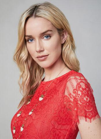Kensie - Scalloped Lace Dress, Orange, hi-res,  lace, short sleeves, spring 2019, summer 2019