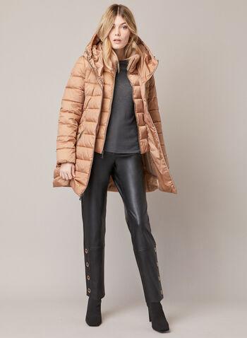 Tahari - Quilted Coat With Hood, Brown,  fall winter 2020, tahari, coat, quilted, hood, bib