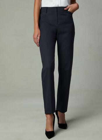 Louben - Pantalon à fines rayures et jambe droite , Noir, hi-res