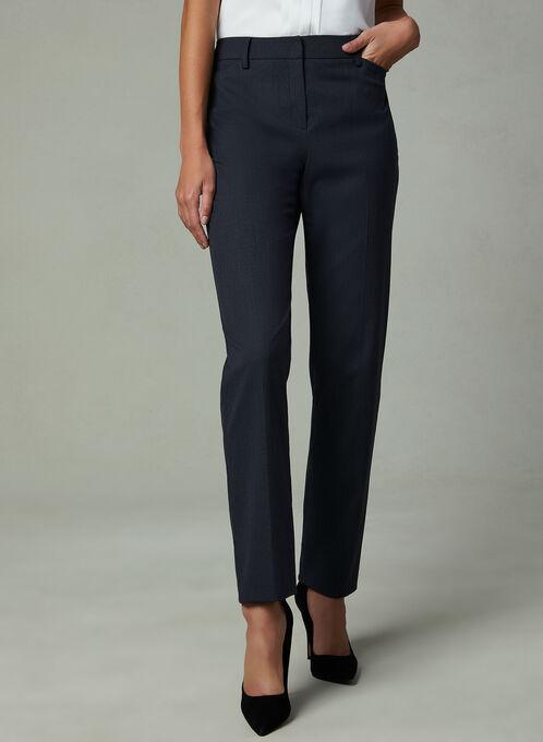 Louben - Pinstripe Print Straight Leg Pants, Black, hi-res