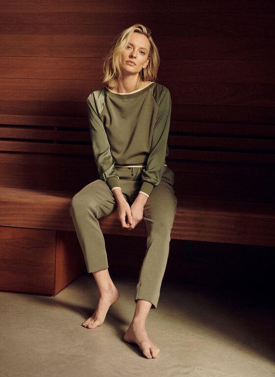 Raglan Silk Sleeve Sweater, Green