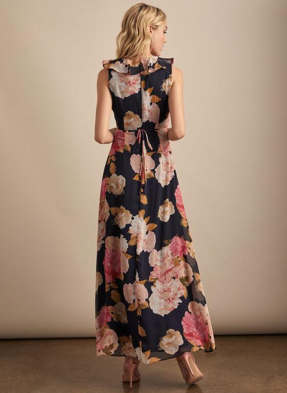 Karl Lagerfeld Paris - Floral Print Ruffle Detail Dress, Blue