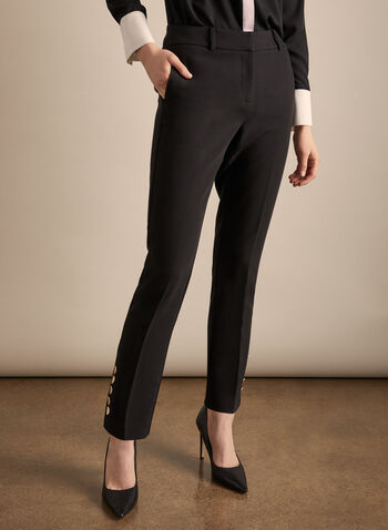 Giselle Fit Button Detail Pants , Black,  pants, giselle, slim leg, pockets, spring 2020