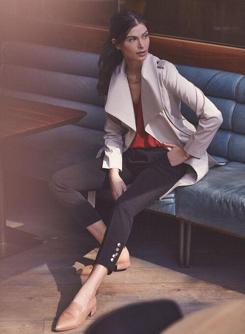 Pantalon Giselle à ourlet boutonné, Noir