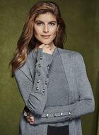 Open Front Knit Cardigan , Grey, hi-res