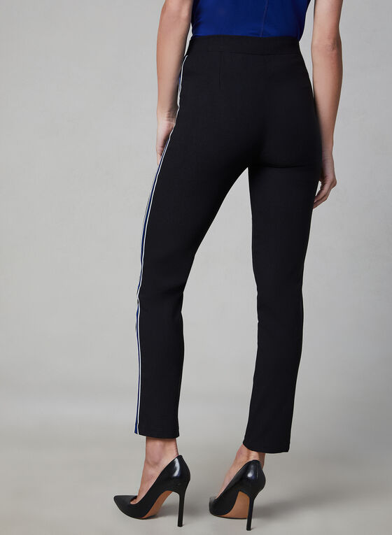 Slim Leg Contrast Trim Pants, Black, hi-res