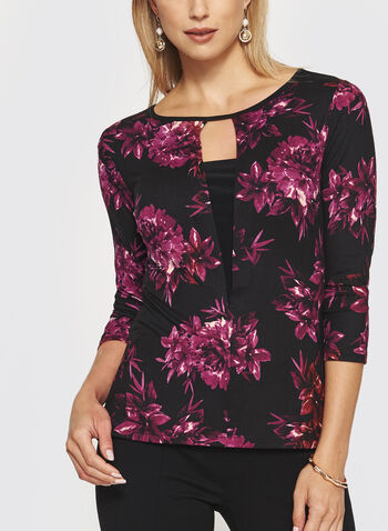 Floral Print 3/4 Sleeve Top, , hi-res