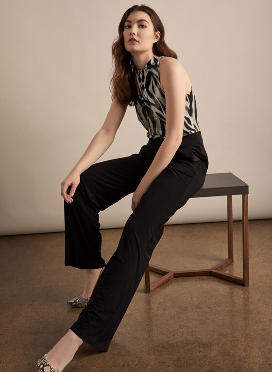 Zebra Print Bodice Jumpsuit, Black