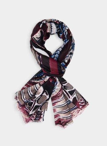 Foulard oblong motif psychédélique, Noir, hi-res,  foulard, oblong, psychédélique, franges, automne hiver 2019