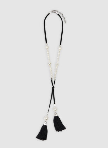 Tassel Pearl Detail Necklace, Off White, hi-res,  pearl necklace, long necklace