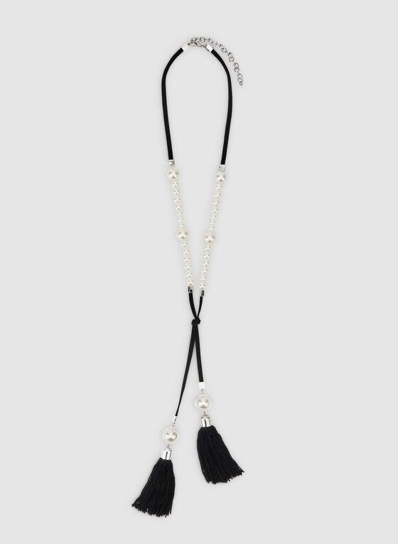 Collier à pompons et perles, Blanc cassé