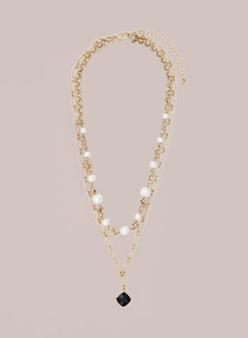 Pearl & Faceted Stone Necklace, Black,  necklace, faceted stones, chain, golden, fall winter 2020