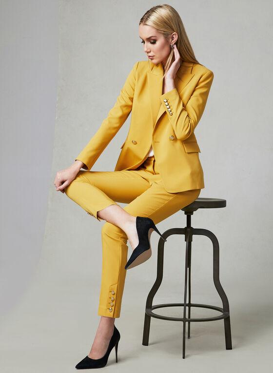 Button Detail Slim Leg Pants, Yellow, hi-res
