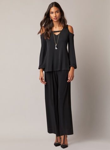 Balloon Sleeve Cold Shoulder Top, Black,  top, v-neck, cold shoulder, balloon sleeves, jersey, fall winter 2020