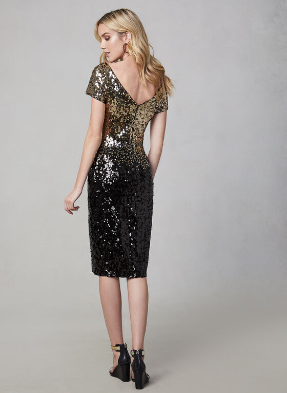 Marina - Ombré Sequin Dress, Black