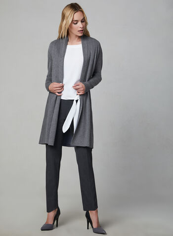 Shawl Collar Knit Cardigan, Grey, hi-res,  Fall 2019, winter 2019, long sleeves, cardigan, knit