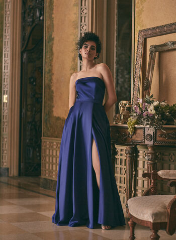 BA Nites - Strapless Satin Dress, Blue,  prom dress, gown, a-line, strapless, high slit, pockets, satin, spring summer 2021