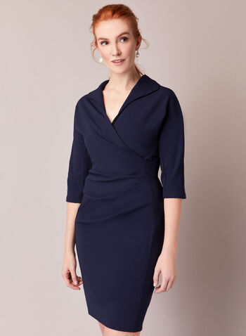 Maggy London for ML - Crepe Dress, Blue,  fall winter 2020, crepe, wrap, 3/4 sleeves, fitted dress, drape, lapel, holiday