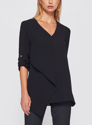 Asymmetric 3/4 Sleeve Crêpe Tunic, , hi-res