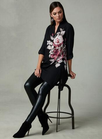 Floral Print Crepe Tunic, Black, hi-res