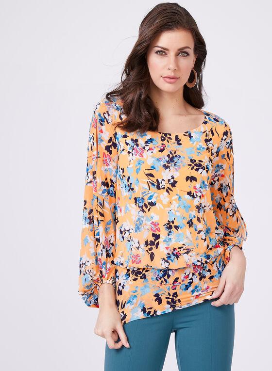 Floral Print Blouse, Orange, hi-res