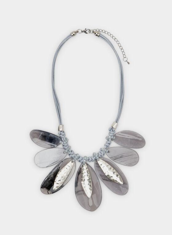 Collier en corde à pendentifs ovales, Gris, hi-res
