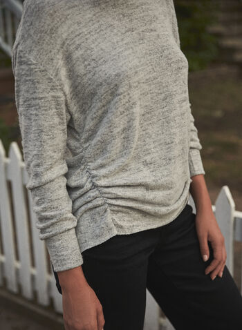 Ruched Crewneck Top, Grey,  fall 2021, made in canada, crew neck, long sleeves, ruched side, details, rounded hem, soft, knit, sweater, top, shirt