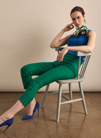 Zipper Hem Pull-On Capris, Green,  capris, pull-on, ankle zipper, pockets, bengaline, stretchy, spring summer 2020