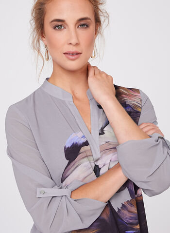 Floral Print Tiered Chiffon Tunic, Grey, hi-res