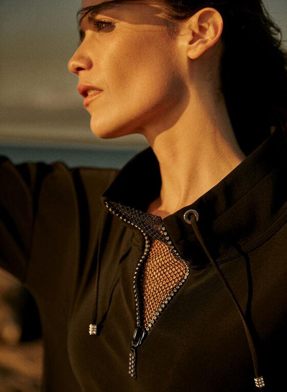 Joseph Ribkoff - Long Sleeve Mesh Insert Top, Black