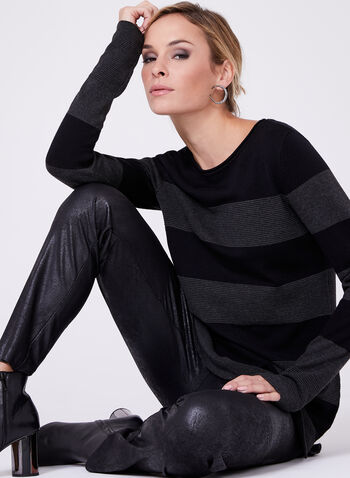 Striped Ottoman Knit Sweater, Black, hi-res