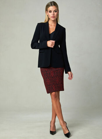 Baroque Print Pencil Skirt, Black, hi-res
