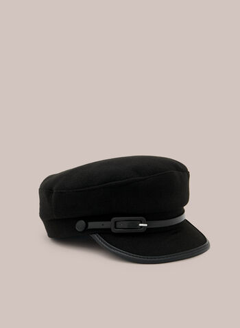 Buckle Detail Pageboy Hat, Black,  hat, pageboy, vegan leather, fall winter 2020