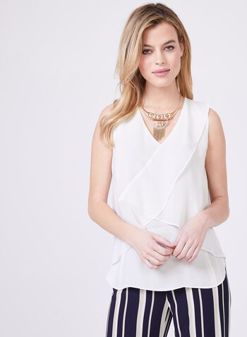 High-Low Chiffon Blouse, Off White, hi-res