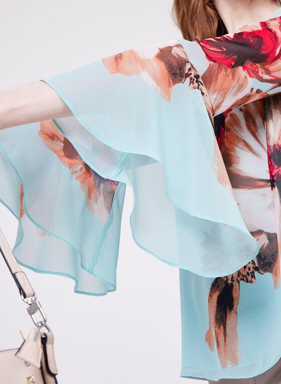 Blouse florale en mousseline et manches cloche, Bleu, hi-res