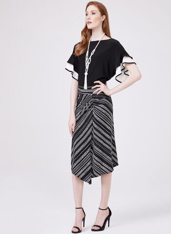 Pull-On Asymmetric Skirt, Black, hi-res