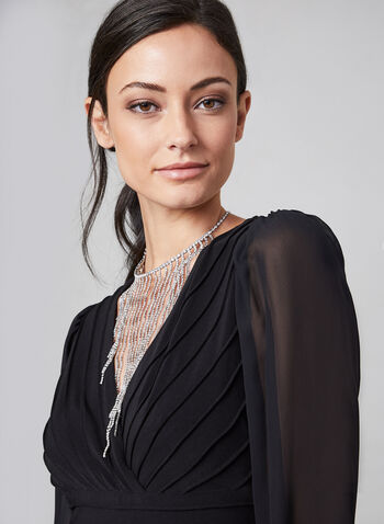 Adrianna Papell - Jumpsuit With Sheer Sleeves, Black, hi-res,  jumpsuit, wide leg, long sleeves, chiffon, sheer, wide leg jumpsuit, holiday, fall 2019, winter 2019