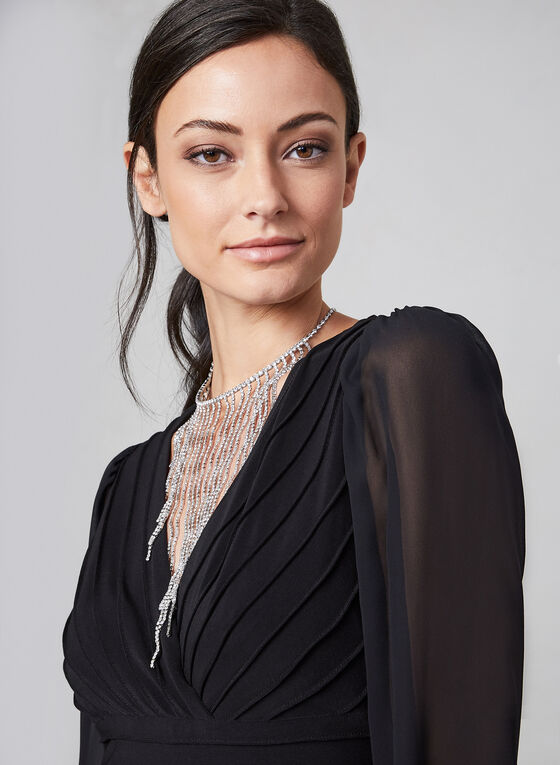 Adrianna Papell - Jumpsuit With Sheer Sleeves, Black, hi-res